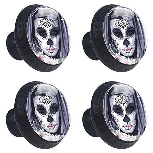 COOSUN Masker Carnaval Horror Kostuum Vrouw Lade Knop Trek Handvat Kristal Glas Cirkel Vorm Kast Trekken Kast Knopen met Schroeven voor Thuis Kast Kast Cupboard (4 Stuks)