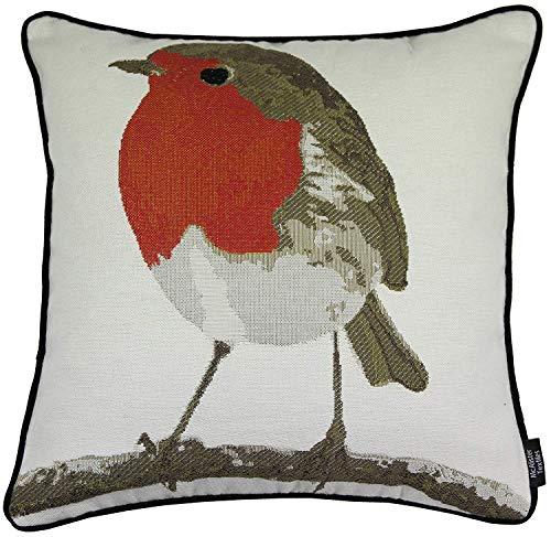 McAlister Textiles Tapestry | Bestickter Kissenbezug Rotkehlchen | 40 x 40cm | gewobenes Vogel-Motiv | Deko Kissenhülle für Sofa, Couch, Garten
