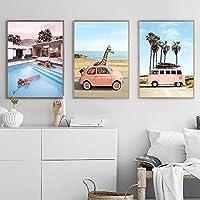 ピンクバス北欧ポスター風景壁アートキャンバス絵画旅行ポスターとプリントCuadros動物の壁の写真リビングルーム50x70cmx3フレームなし