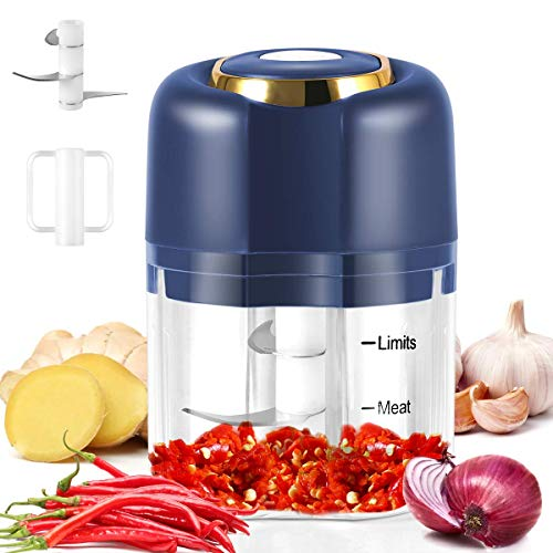 Electric Mini Garlic Chopper, Mini Chopper Food Processor, for Chop Onion Ginger Vegetable Pepper Spice Meat, Baby Food, Easy Cleaning