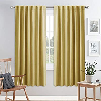 PONY DANCE Living Room Curtains - Window Treatments Curtain Panels Back Tab & Rod Pocket Draperies Energy Saving Drapes for Dining Room, W 52 by L 72 inches, Yellow, 2 Pieces