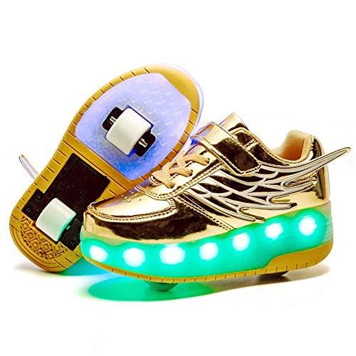 MY1MEY Einrad-Sneaker-Schuhe Kinder-Rollschuhschuhe mit Doppelrädern LED-Blinklicht Leuchtend Einziehbar Technisches Skateboarding Multisport-Schuhe Outdoor-Sport Turnschuhe, Gold, 36