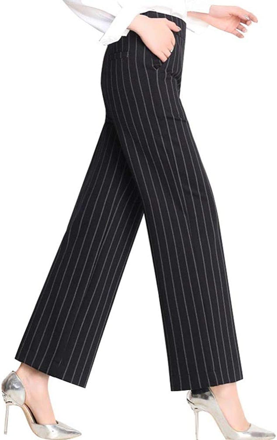 HOQTUM WideLeg Pants Elastic Waist Spring and Summer Trousers Loose high Waist Ladies Casual Pants Striped Stretch Pants