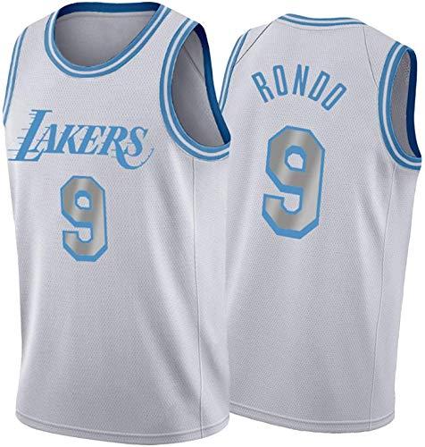 FEZBD Jersey da Uomo da Basket, Lakers 9 Rondo Jersey NBA Leisure Sport Traspirante Jersey Swingman Gilet T-Shirt,Bianca,M170~175cm