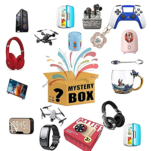 WOOLIY Caja de Misterio, Caja de Misterio Equipo electrónico Caja Lucky se Puede Abrir: Teléfono Celular, Drone, Relojes Inteligentes, Gamepads, etc Posible