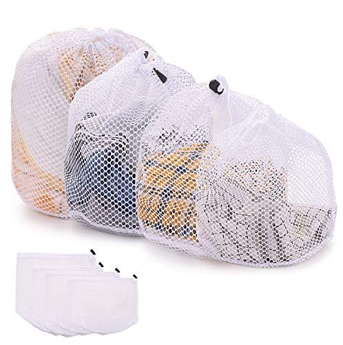 FORMIZON 4 Piezas Lavado Bolsa, Bolsa de lavandería de Malla, con Cordón, Bolsas para la Colada para Medias, Sujetador, Falda y Proteger la Ropa Interior (A)
