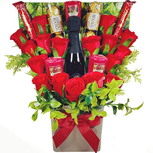 The Yankee Candle, Red Rose & Chocolate Bouquet with a Bottle of Vino Spumante Sparkling Wine 20cl (10.5% ABV), containing Lindt Lindor & Ferrero Rocher Chocolates