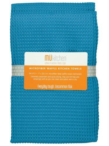 MUkitchen Microfiber Waffle Dishtowel, 17 by 25-1/2 Inches, Set of 2, Sea Blue