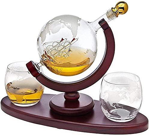 Globe Decanter con nave – Set di decanter per whisky, con 2 bicchieri, dispenser per bevande liquori, scotch, borbon