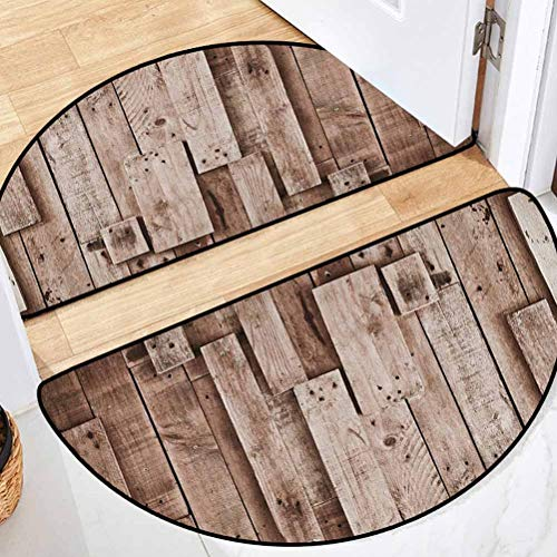 Wooden Bath Room Half-Round Carpet Non-Slip and Long Lasting Vintage Barn Shed Floor Wall Planks Sepia Art Old Natural Plywood Lodge Image Print Grey Brown 36' L x 24' W