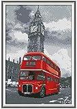 Bordado de kit punto de cruz Kit para adultos(lienzo preimpreso 11CT),autobús rojo Bordado de principiantes punto de cruz Niños regalo decoración del hogar,40x50cm