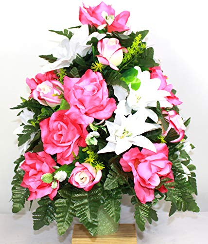 Crazyboutdeco Cemetery Flowersxl Spring Mixture Artificial Silk Flower Cemetery Bouquet Vase Arrangement Dailymail