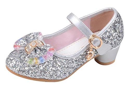 La Vogue Zapatos Zapatilla con Lentejuela Para Niña Princesa Fiesta Plateado Color 26/Longitud Interior 17.5CM