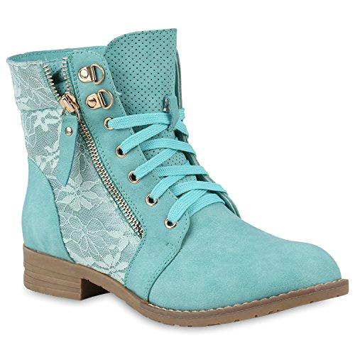 Stylische Damen Stiefeletten Worker Boots Knöchelhohe Stiefel Gesteppt Damen Leder-Optik Zipper Ketten Schuhe 146973 Hellgrün 39 Flandell