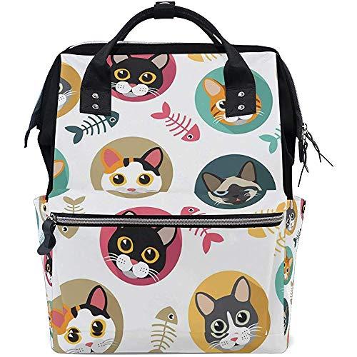 Daypack Cartoon Cat Diaper Multi-Function Backpack Sacs À Dos Sacs pour Bébé Zipper Casual Large Capacity Travel Mom Dad Unisex 28X18X40Cm