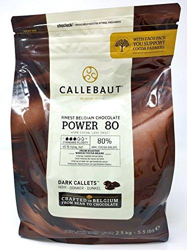 Callebaut Power 80 (Macht 80%) - Feinste Belgische Dunkle Schokoladenkuvertüre - Zartbitterschokolade - Finest Belgian Dark Chocolate (Callets) 2,5kg