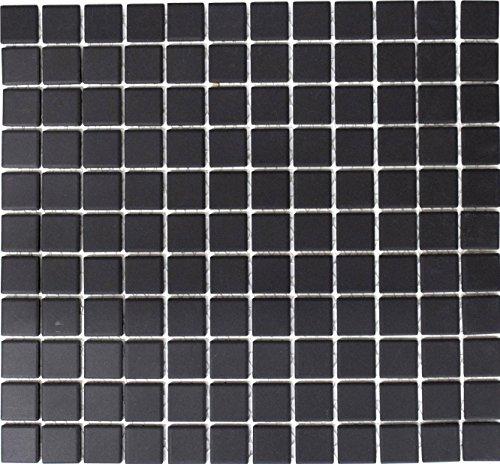 Mosaik Quadrat uni schwarz unglasiert rutschhemmend R10 Keramik rutschsicher trittsicher anti slip rutschfest, Mosaikstein Format: 25x25x5 mm, Bogengröße: 327x302 mm, 10 Bögen