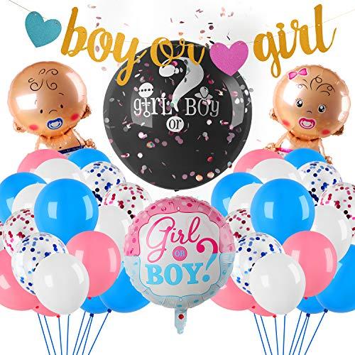 Herefun 49 PCS Baby Reveal Forniture per Feste, Ragazzo o Ragazza Palloncini Partito Decorazione, Baby Shower Decorazioni Inclusi Striscione, Palloncini Foil per Baby Shower Festa di Compleanno (A)