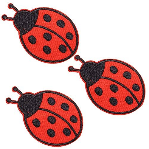 U-Sky Iron on Patches Small Insect for Girl, 3pcs Cute 7 Stars Red Ladybug Denim Sew-on/ Iron-on Appliques Patch for Jackets/ Backpacks/ Kids Clothing/ Jean/ Vest/ Shirt, Size:2.9x2.7inch
