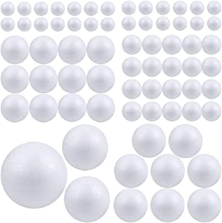 Pllieay 88 Pieces 6 Sizes White Foam Balls Polystyrene Craft Balls Craft Decoration Balls for DIY Art Craft, Household and School Projects