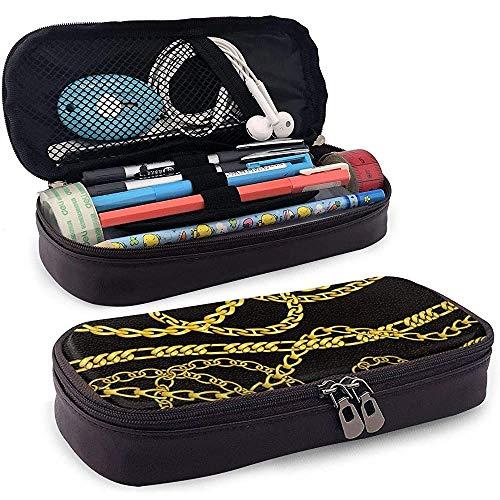 Stationery Bag gouden kettingen en halskettingen potloodetui robuust PU-leer make-up potloodzakje studenten schrijfwaren dubbele ritssluiting pennenhouder kantoor