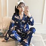 Handaxian Pijamas de Seda para el hogar con satén para Mujer Pijamas con Estampado Floral para el hogar Dulce y Encantador XL