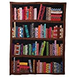 ART & ARTIFACT Library Books Quilted Throw Blanket - 100% Cotton 50' x 65'