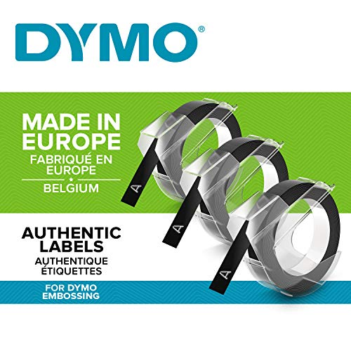 Dymo S0847730 Vinyl-Prägeetiketten (Rolle 9 mm x 3m, weißer Druck auf schwarzem Untergrund, selbstklebend) 3erPack