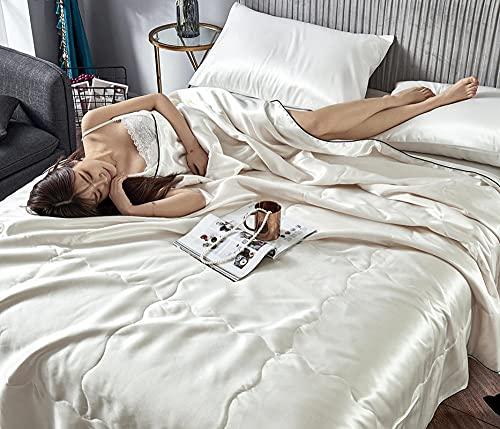 Hojas de cama de color sólido lavables, colcha de aire acondicionado de cuatro piezas, edredón de verano fresco, una sola edredón doble, colcha delgada en primavera y otoño-blanco_1.5m (4pcs)