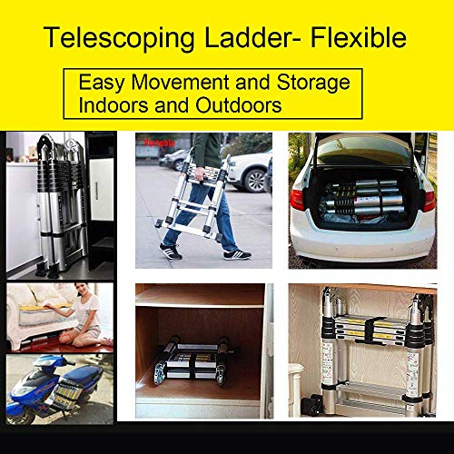 Jiahe12.5FT/3.8M Aluminum Telescoping Extension Ladder Portable Multi-Purpose Folding A-Frame Ladder with Hinges(12.5ft in Straight line and 6.25ft in A-Frame)