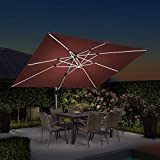 PURPLE LEAF 9' X 12' Double Top Deluxe Solar Powered LED Rectangle Patio Umbrella Offset Hanging Umbrella Outdoor Market Umbrella Garden Umbrella, Brick Red