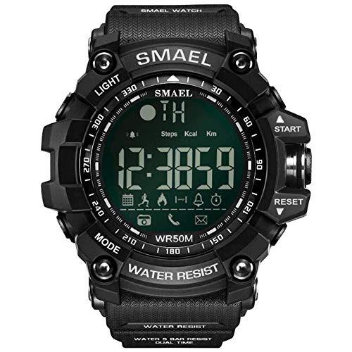 Simshew Rastreador de Ejercicios SMAEL 1617B Bluetooth Smart Watch Digital Sport Reloj Masculino Calorías Monitorización de la frecuencia cardíaca y del Sue (Color : Negro)