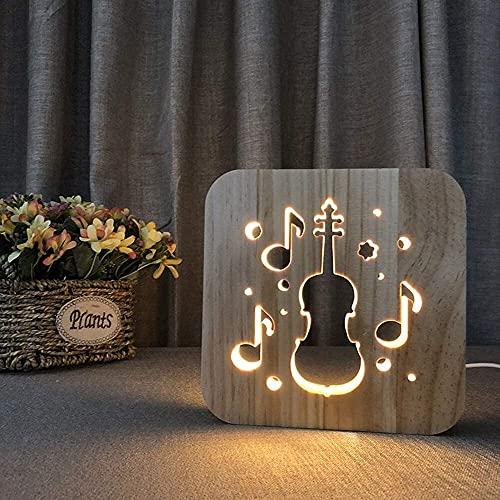 Lámpara Escritorio Violonchelo dibujos animados creativos linda luz de noche de madera 3D lámpara de mesa LED hueca decoración USB dormitorio habitación de los nios cumpleaos 19 * 19 cm escritorio
