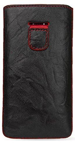 MediaDevil Sony Xperia Z2 Lederhülle (Schwarz mit roten Nähten) - Artisanpouch Hülle aus echtem europäischen Leder mit Ausziehlasche