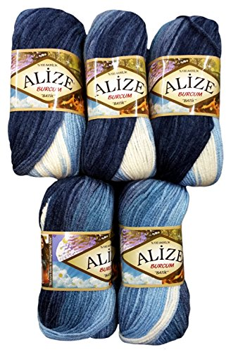 Alize Burcum Batik 5 x 100 Gramm Wolle Mehrfarbig mit Farbverlauf, 500 Gramm Strickwolle (dunkelblau blau hellblau 1899)