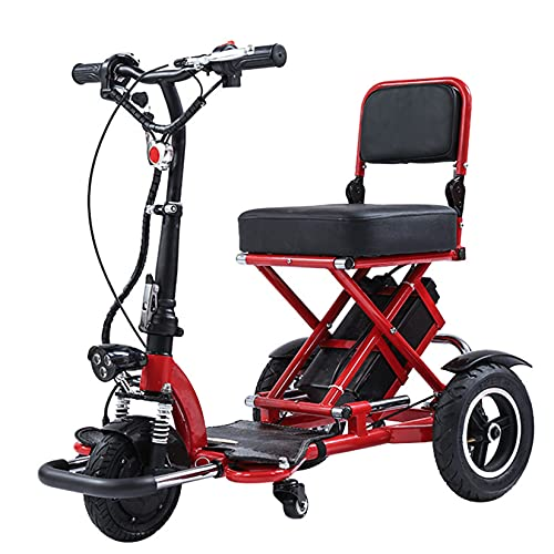 YX-ZD Scooter de Movilidad eléctrica de 3 Ruedas, Scooters de Movilidad Flexible de Servicio Pesado para Adultos, Scooter de Viaje portátil Plegable y Compacto,Rojo
