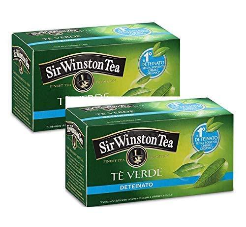 Sir Wiston Tea Green Tea antioxydant décaféiné sans solvants chimiques organiques - 2 x 20 sachets de thé (70 grammes)
