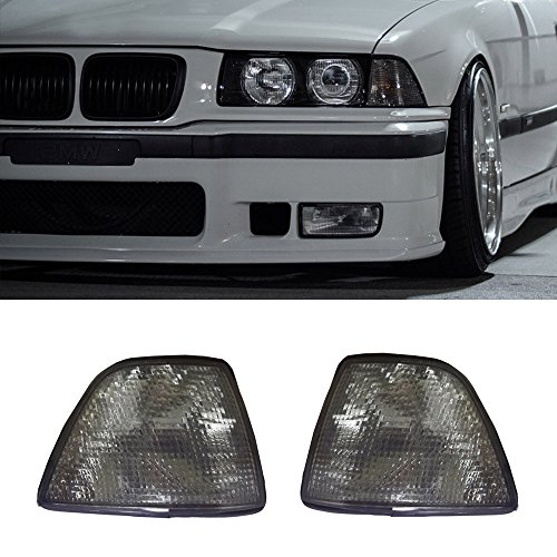 YUK For 92-98 BMW E36 3-Series 4DR Sedan/Hatchback (318i 318ti 323i 325i 328i) Euro Corner Lights - Smoke Lens (1992 1993 1994 1995 1996 1997 1998)