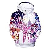 YJXDBABY-Sailor moon-3D Printed Jacket Men's Hip-Hop Hoodie, longleeved Casual Sports Top, Kangaroo Pocket Drawstring Hoodie-XXXL