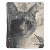 マウスパッド ノートパソコン オフィス用 ゲーム用 猫の顔植物花ブラックホワイト (180*220*3mm)防塵 耐久性 滑り止め 耐用