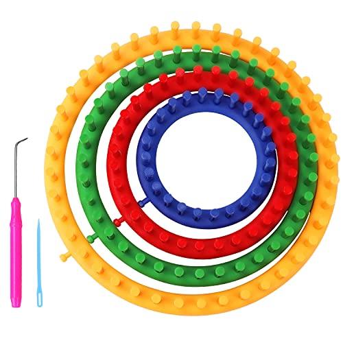 Curtzy Telar Circular de Plástico Set con Aguja y Gancho (Pack de 6) Tamaños de 14, 19, 24 y 29 cm - Telares para Tejer Sombreros, Bufandas y Suéter - Telares para Tejer Adultos y Niños