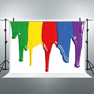 Riyidecor Paint Splatter Backdrop Abstract Painting Graffiti Photography Backgrounds 7x5 Feet Baby Shower Birthday Rainbow Colorful Party Celebration Photo Shoot Studio Vinyl Cloth