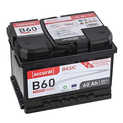 Accurat Autobatterie B60 Basic 12V 60Ah 530A wartungsfreie Blei/Calcium Nassbatterie/Starter, hohe Kaltstartkraft Kapazität für Mittelklassfahrzeuge