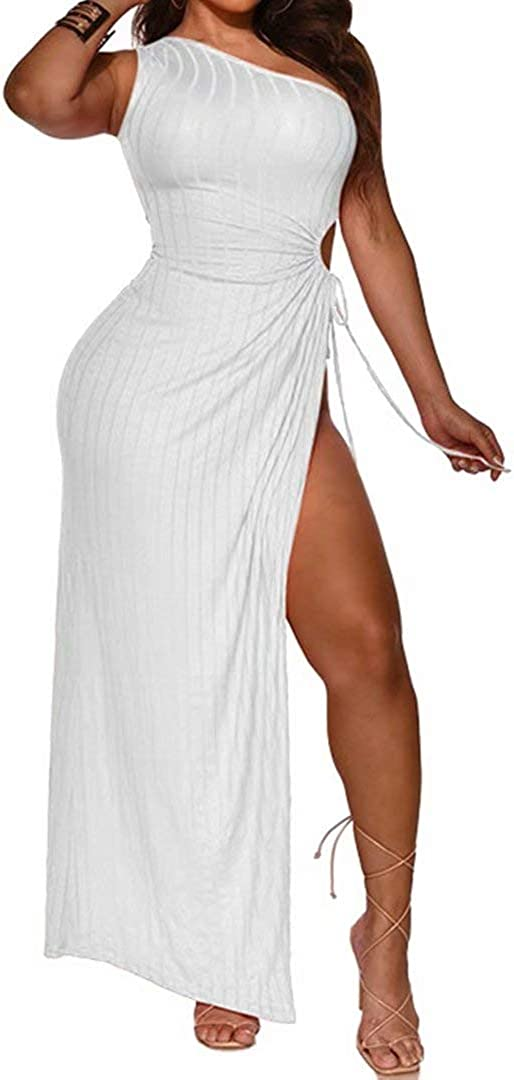Womens Sexy One Off Shoulder Sleeveless High Split Ribbed Dress Beach Pencil Party Maxi Dresss