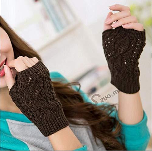 LFDTST Frauen Kurze Stretch Twist Häkelarbeit Knit Half Finger Touchscreen Handschuhe Weibliche Winter Warme Arm Fingerlose Radfahren Handschuh B82 G7 Kaffee