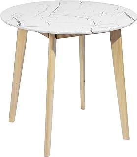 MEUBLE COSY Table de Salle à Manger Ronde de Salon Cuisine Scandinave 2 à 4 Personnes Marbre, 80x80x75cm