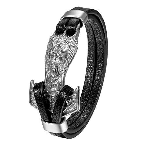 Cupimatch Premium Leder Armband Herren Thor Hammer Löwe Kopf Vintage geflochten 21,5cm Flechtarmband, Silber