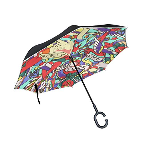 Double Layer Inverted Umbrella Winddichte Regensonnen-Regenschirme im Freien mit C-förmigem Griff - Old School Tattoo Seamless Pattern Cartoon