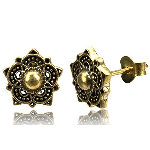 viva-adorno 1 Paar Ohrstecker Ohrringe Messing Ethno Vintage Antik Style Blumen Blüten Goa Z498, D3