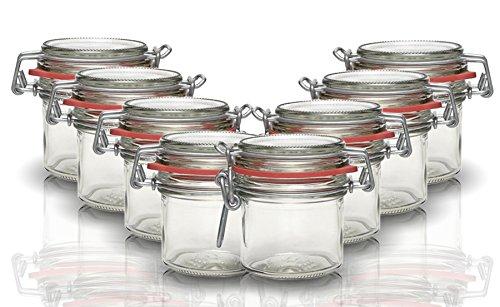 Drahtbügelgläser Set mit Bügelverschluss Noel 6 teilig | Füllmenge 125 ml | Lufdticht Konservieren | durch den Gummiring und den Drahtbügelverschluss
